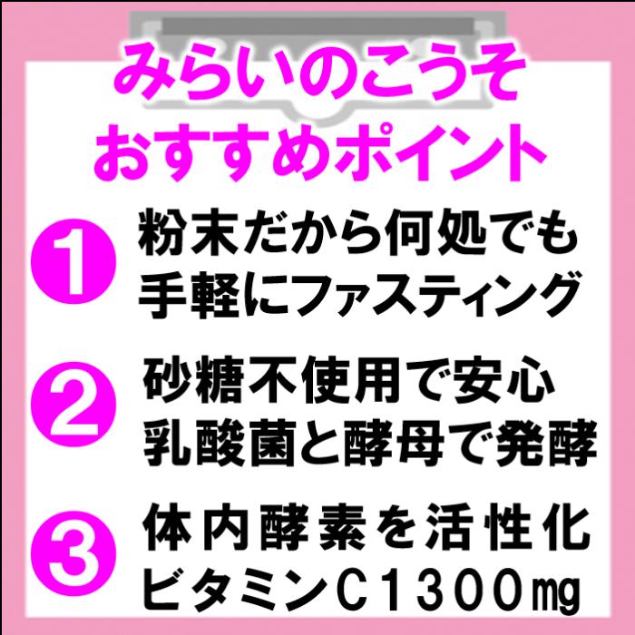 みらいのこうそがおすすめの3つのポイント,粉末だから何処でも手軽にファスティング,砂糖不使用で安心/乳酸菌と酵母で発酵,体内酵素を活性化ビタミンc1300mg